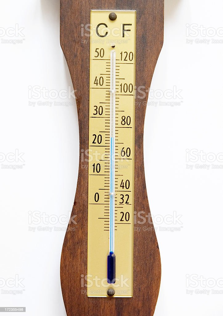 Measurement Concept: Wooden Thermometer on White royalty-free stock photo