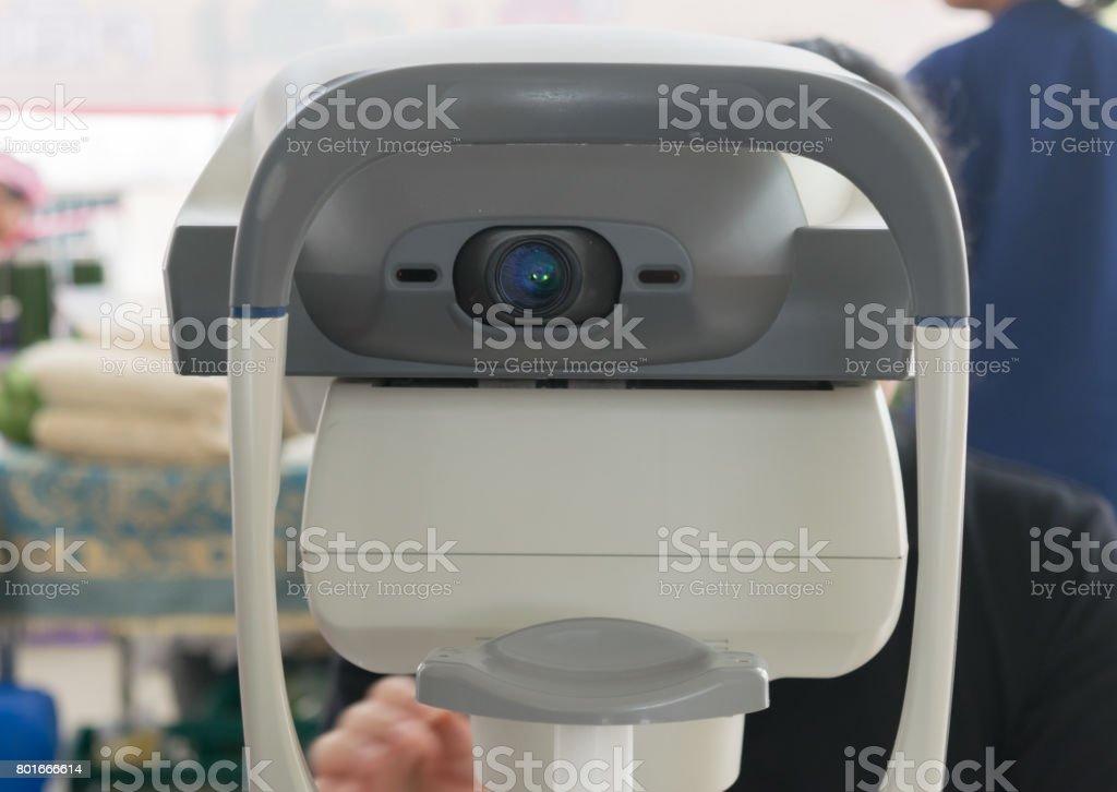 Measurement of eye pressure Eye examination stock photo