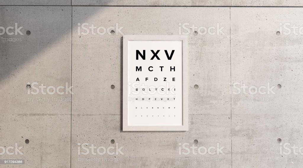 Messtisch des Sehens. Rahmen einer Betonwand hängen. Ansicht-Prüfung. Buchstaben in Druckschrift. Sehtest. Sehschärfe – Foto