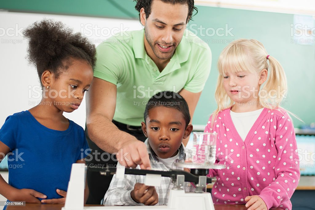 Measuring a Scientific Beaker stock photo