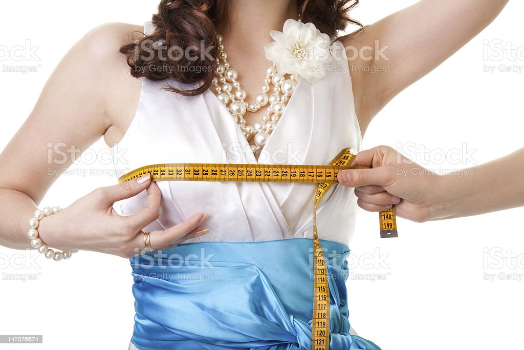 Measuring breast size royalty-free stock photo