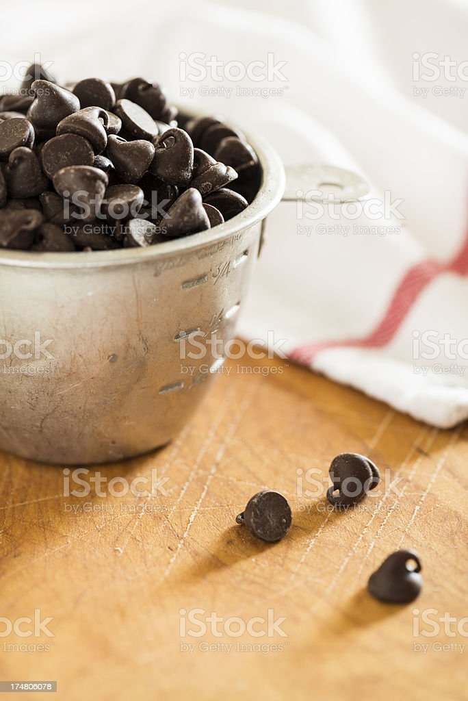 Measuring Cup Full of Chocolate Chips royalty-free stock photo