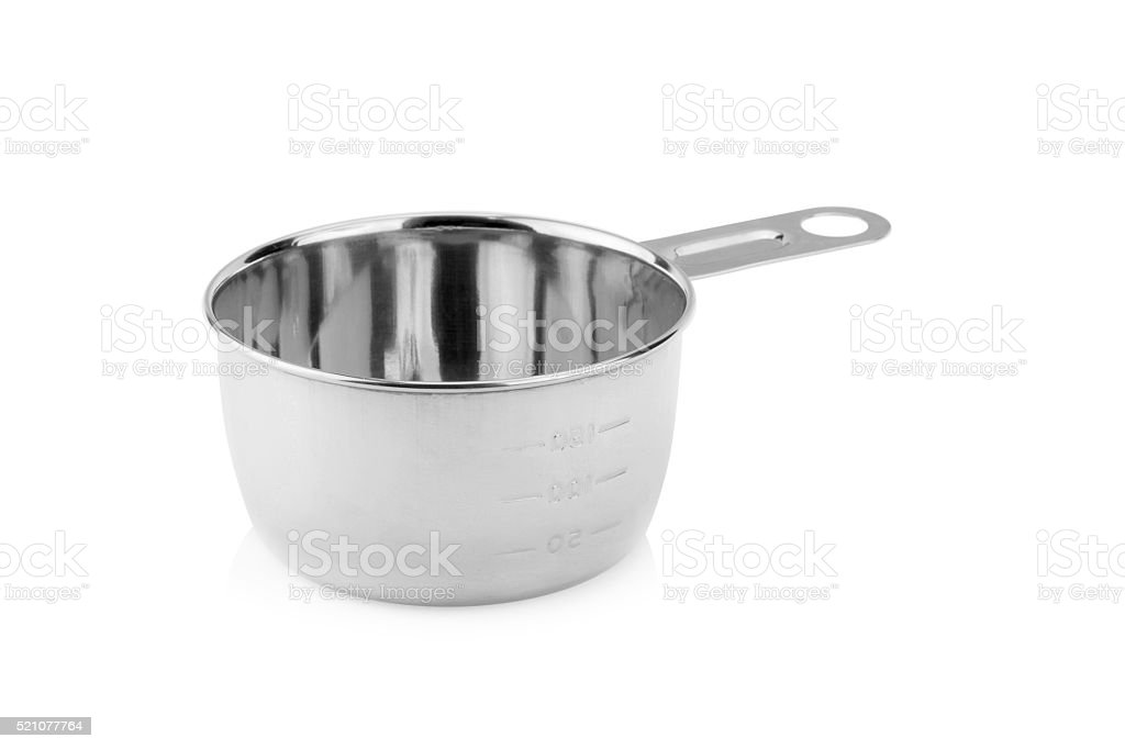 measuring cup on white background stock photo