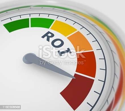 Color scale with arrow from green to red. The measuring device icon. Sign tachometer, speedometer, indicators. Colorful infographic gauge element. ROI means return on investment. 3D rendering