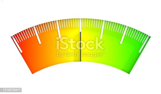 Level scale with arrow. The measuring device icon. Sign tachometer, speedometer, indicators. Infographic gauge element. 3D rendering