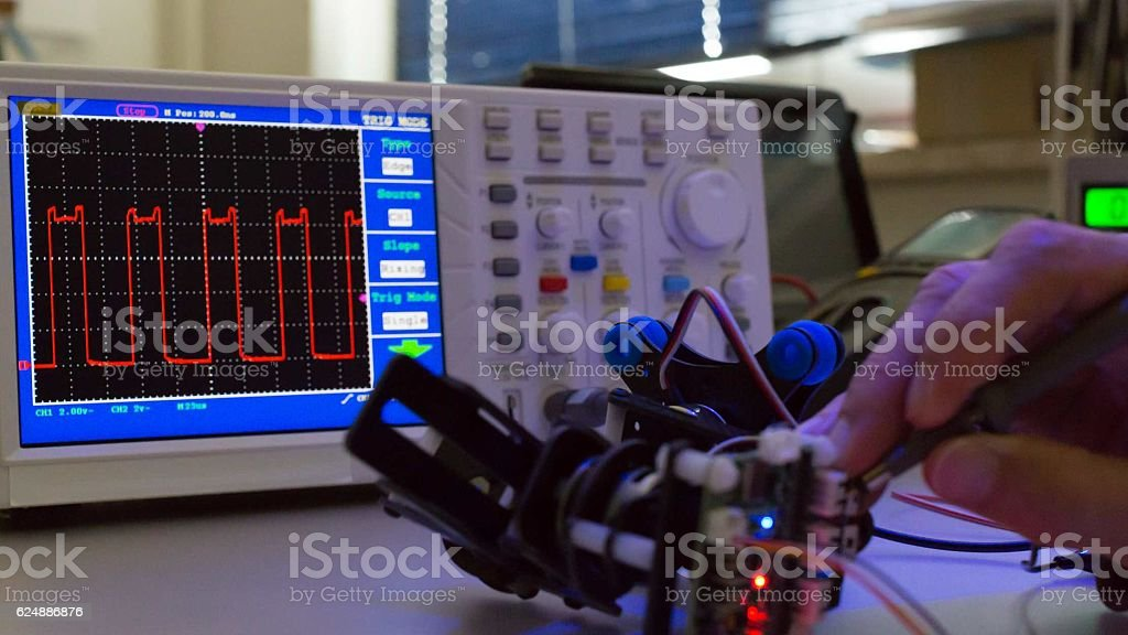 Measuring devices in the electronics lab stock photo