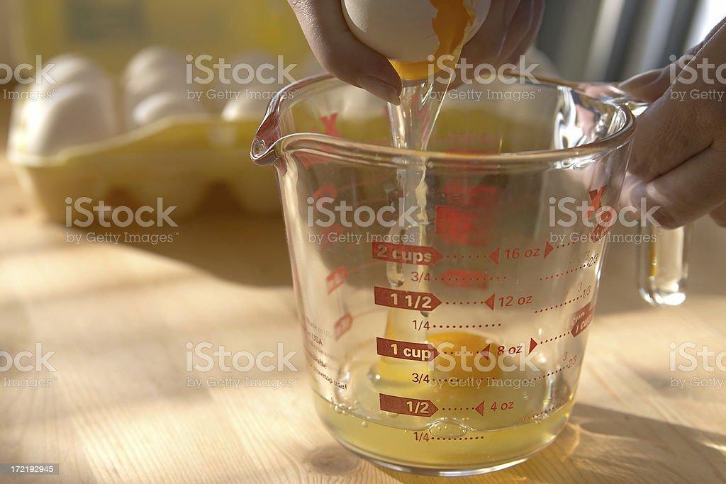 Measuring eggs stock photo