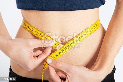 istock Measuring female slim waist using yellow tape measure 176833647