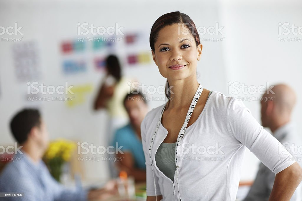 Measuring her teams success royalty-free stock photo