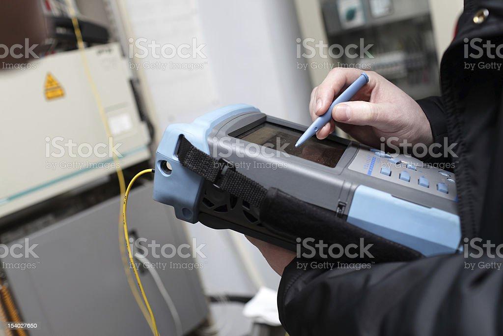 Measuring of fibre optic line stock photo