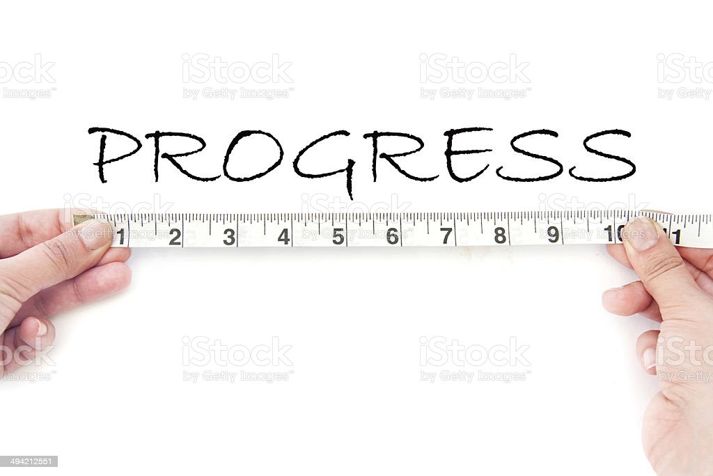 Measuring progress stock photo