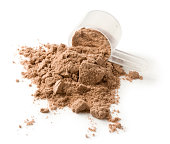 Protein powder and measuring scoop on a white background. Usually mixed with water or milk as a nutritional supplement.
