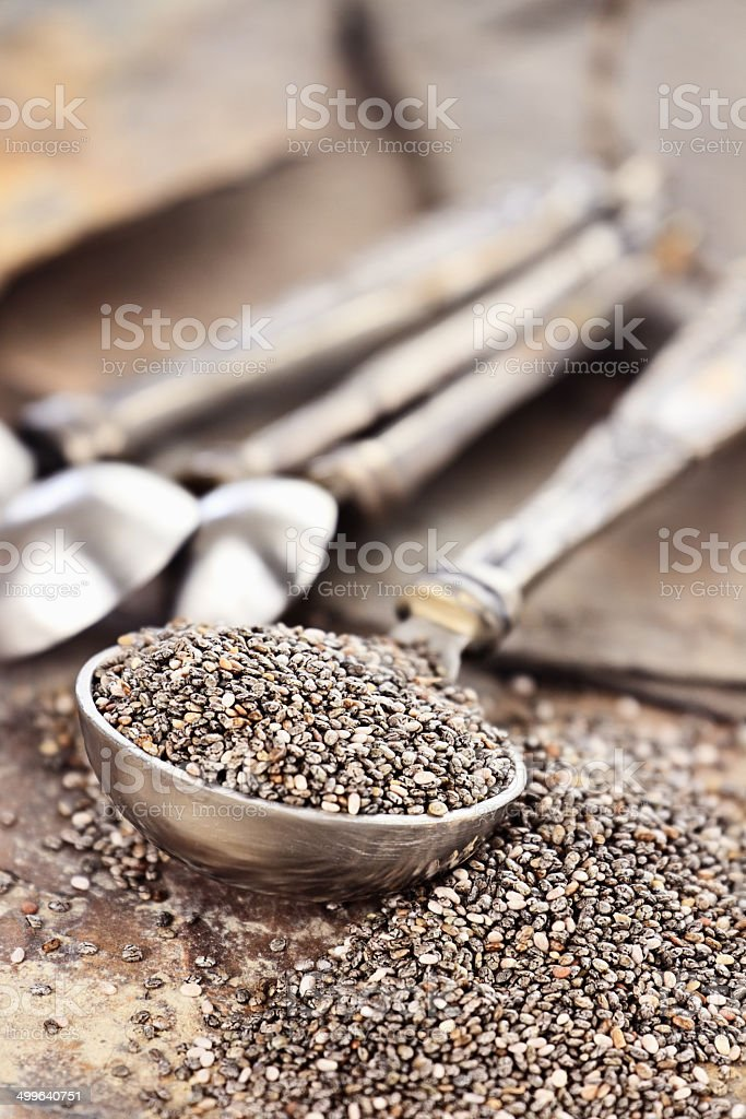 Measuring Spoon of Chia Seeds stock photo