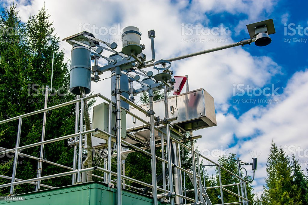 Measuring Station for Air Quality and Weather stock photo