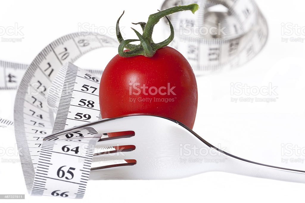 Measuring tape - healthy food and diet stock photo