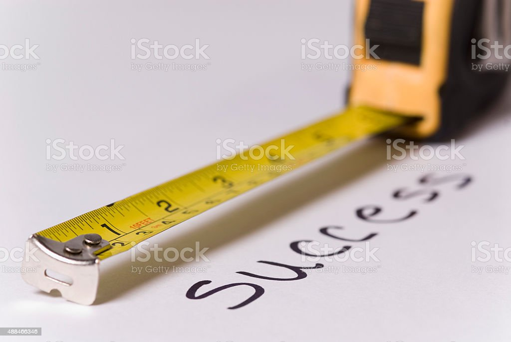 メジャーテープ測定テキストの成功 ロイヤリティフリーストックフォト