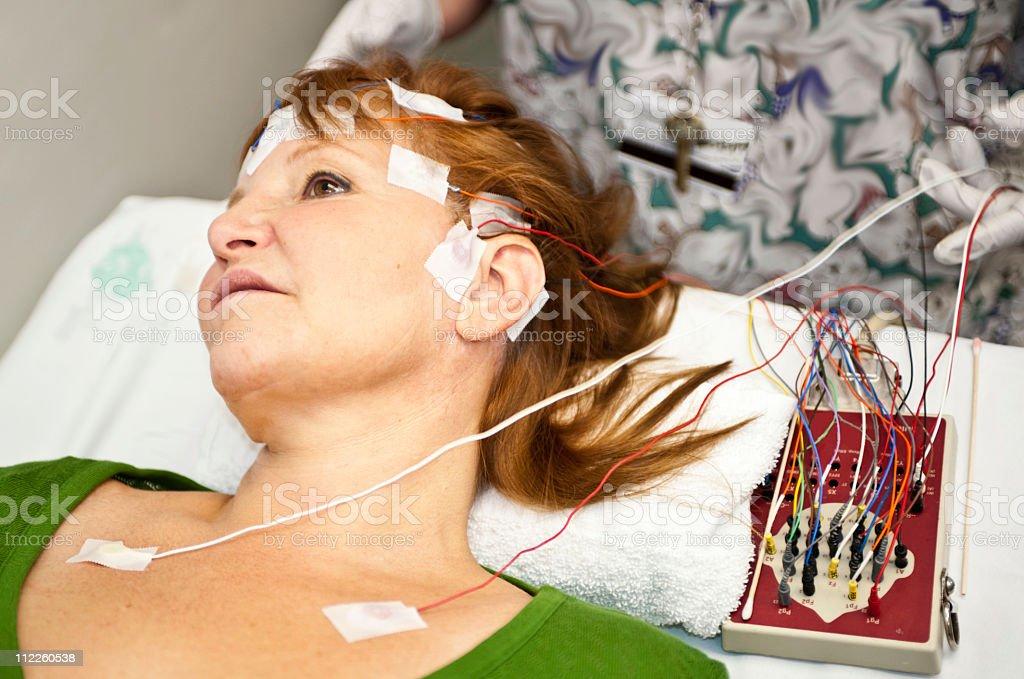 EEG measuring tape stock photo