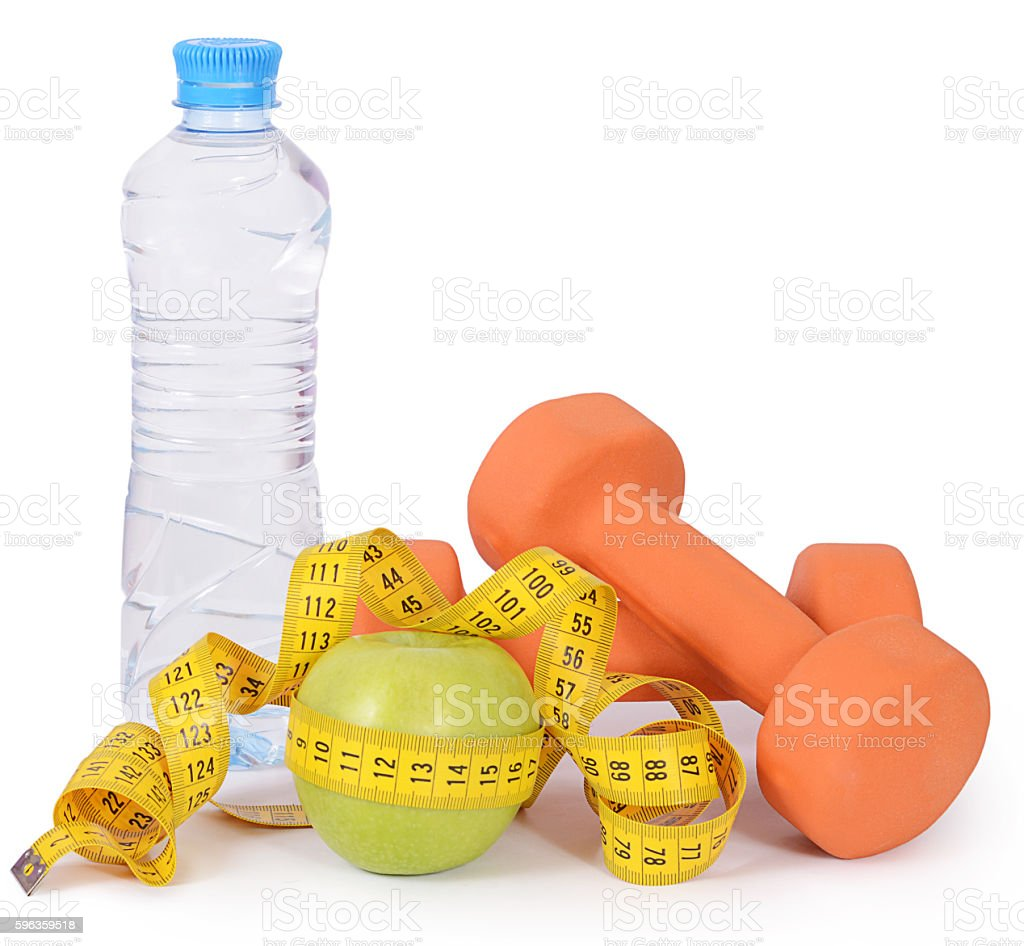 Measuring tape with dumbbells isolated royalty-free stock photo