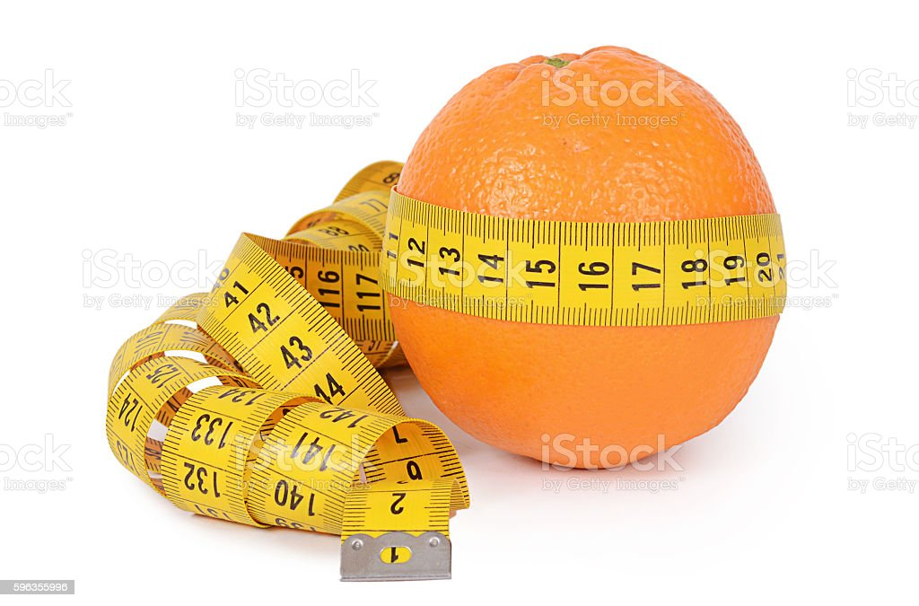 Measuring tape with orange isolated royalty-free stock photo
