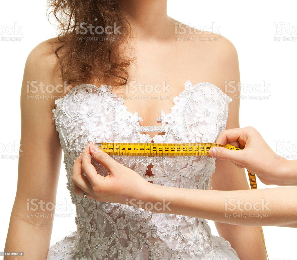 Measuring the breast size royalty-free stock photo