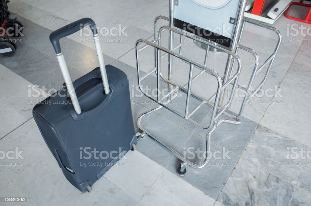 Measuring the Size of Carry-on Baggage stock photo