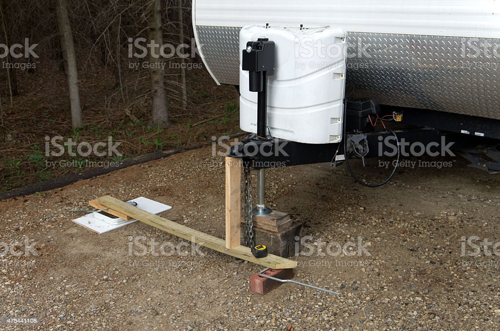 Measuring Trailer Tongue Weight stock photo