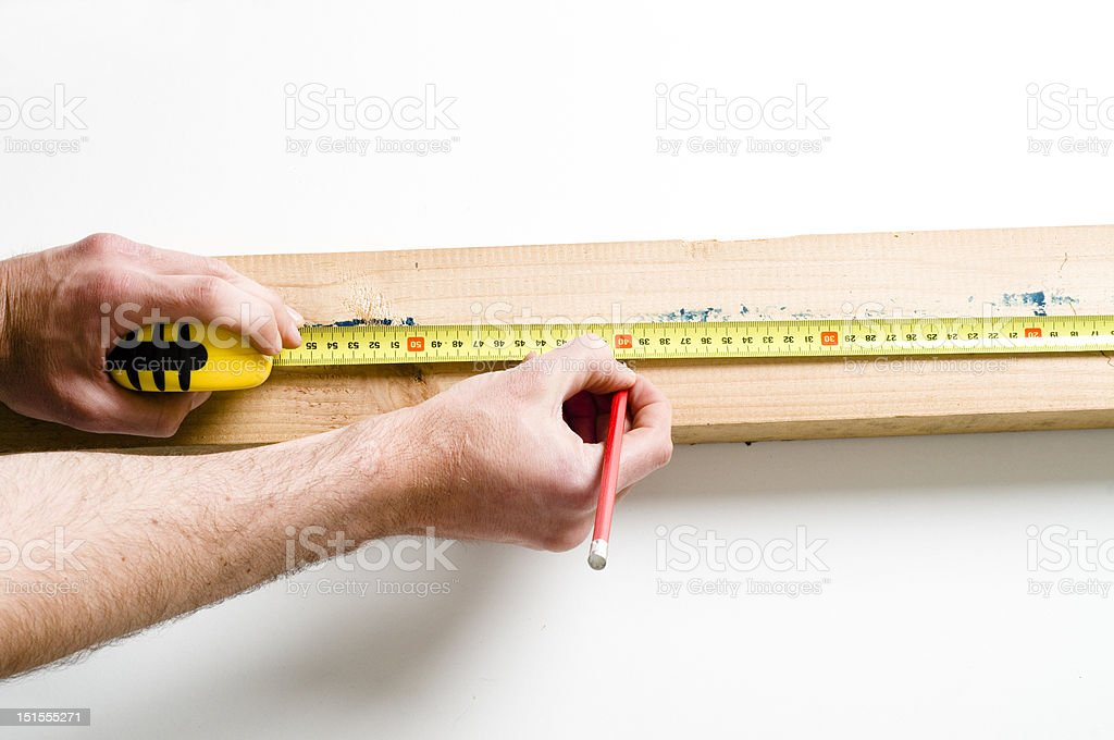 measuring woodwork royalty-free stock photo
