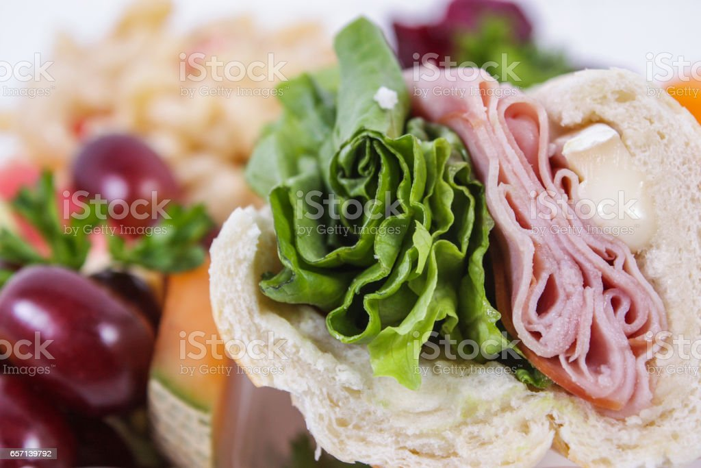 meat and cheese sandwich stock photo