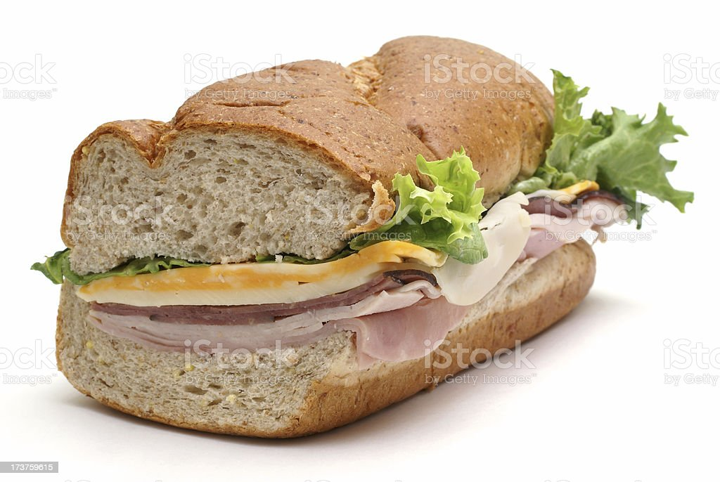 meat and cheese submarine sandwich stock photo