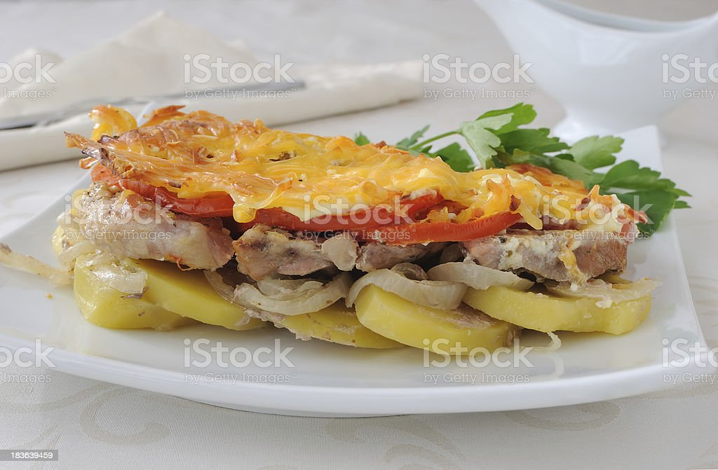 Meat and cheese with potatoes royalty-free stock photo