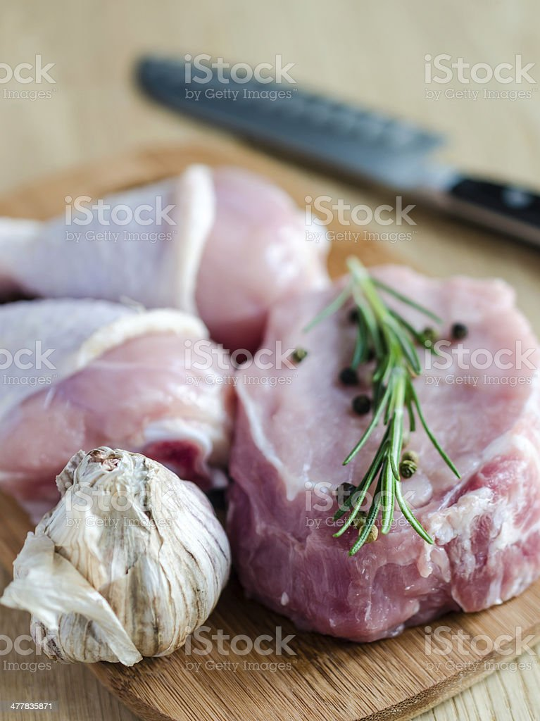 Meat and chicken royalty-free stock photo