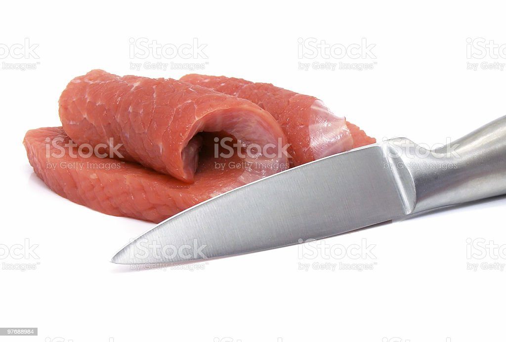 meat and knife food  isolated royalty-free stock photo