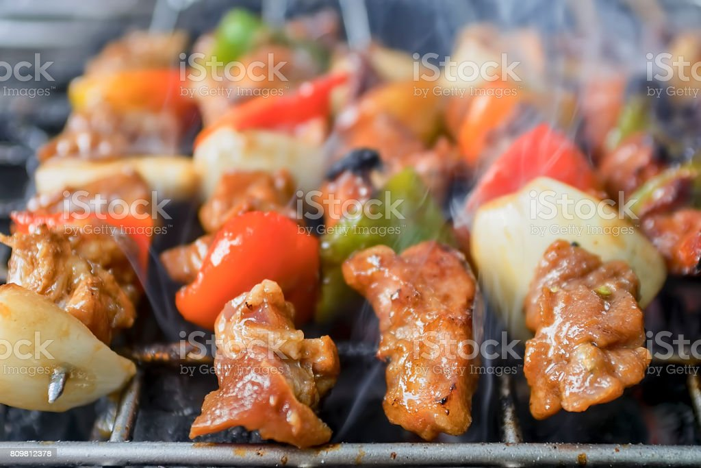 Meat and Vegetable Barbecue stock photo