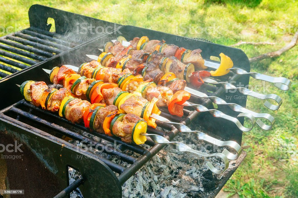 Meat and vegetable skewers on grill in nature royalty-free stock photo