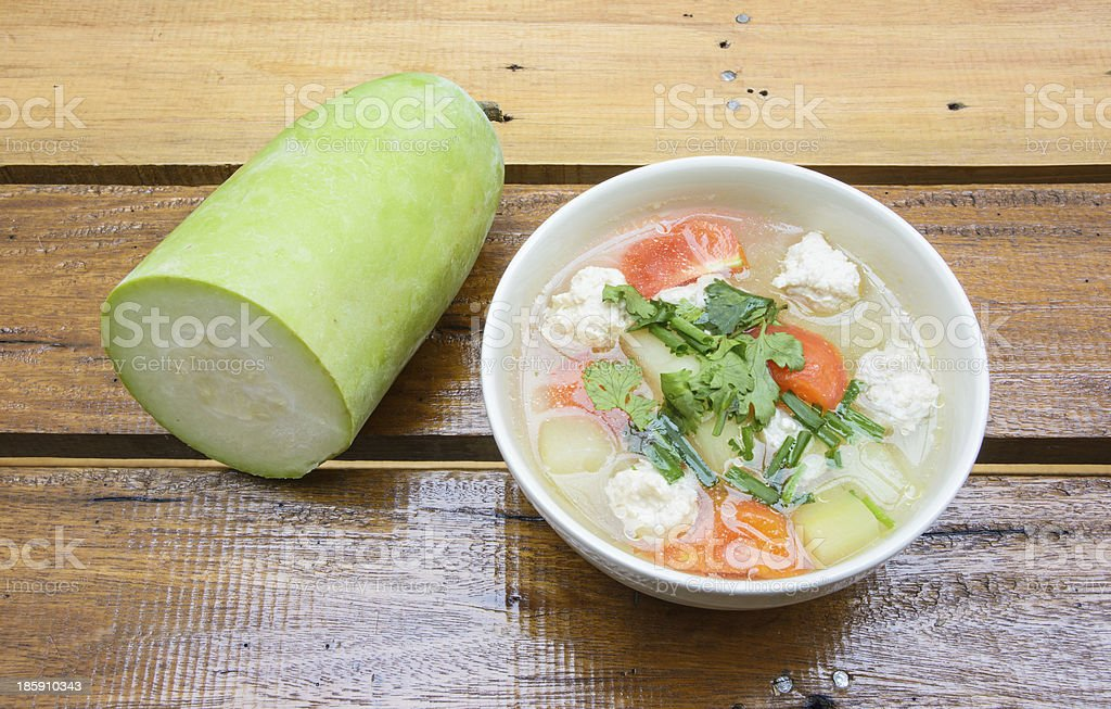 meat and vegetable soup in bowl royalty-free stock photo