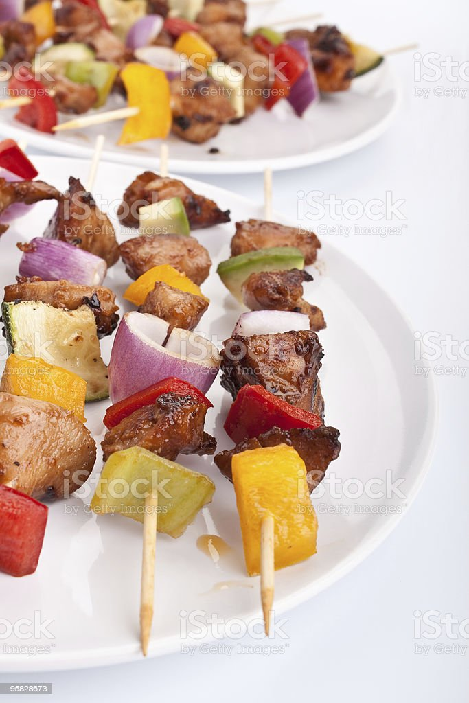 meat and vegetables kebabs royalty-free stock photo