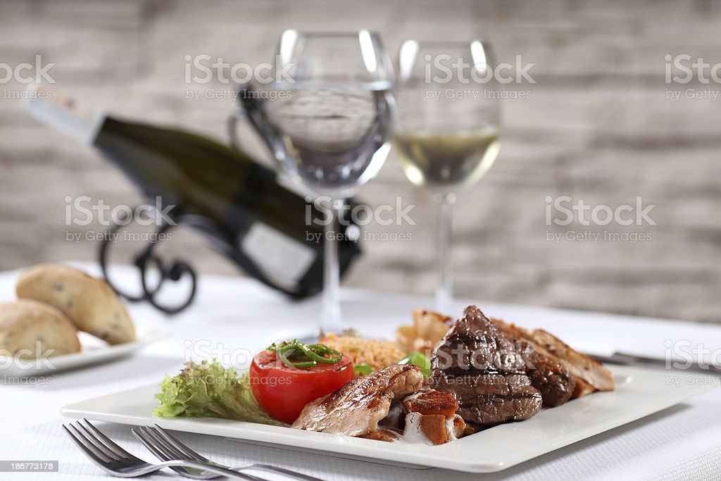 Meat and Wine for Lunch royalty-free stock photo