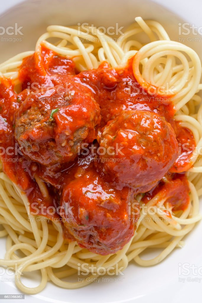 Meat Ball over Pasta royalty-free stock photo