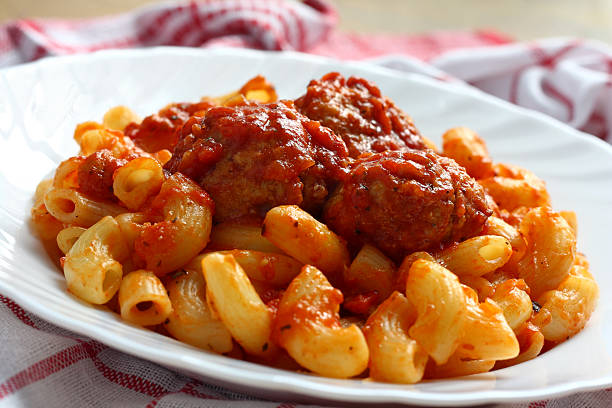 Meat balls and pasta stock photo