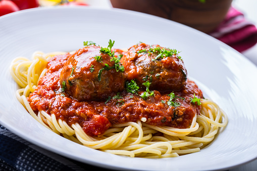 Meat balls. Italian and Mediterranean cuisine. Meat balls with spaghetti and tomato sauce. traditional kitchen.Meat balls. Italian and Mediterranean cuisine. Meat balls with spaghetti and tomato sauce. traditional kitchen.