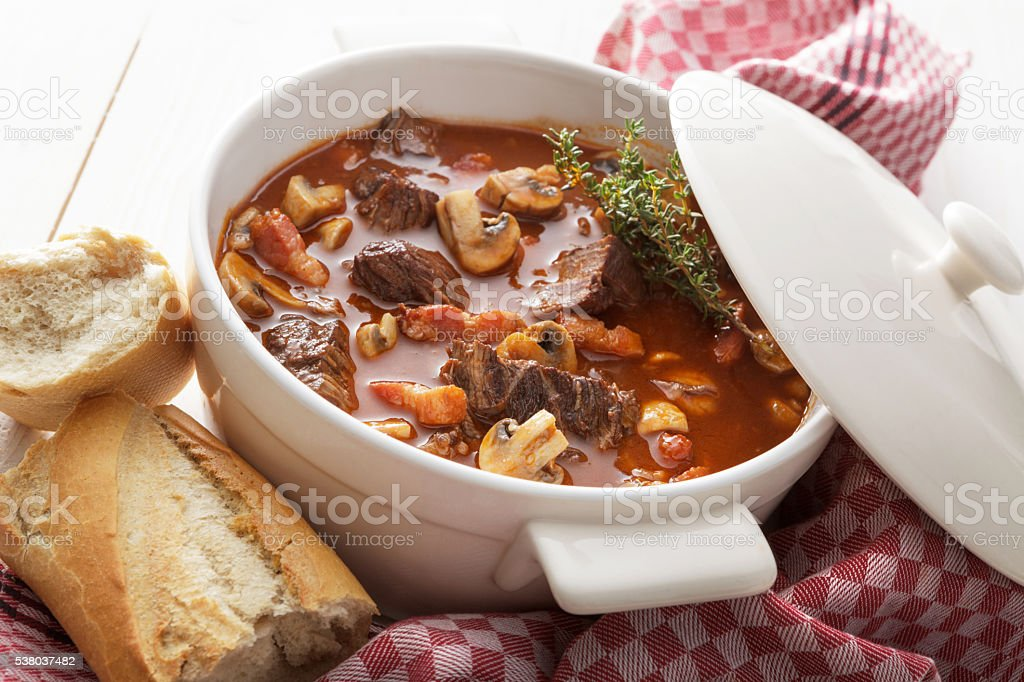 Meat: Beef Bourguignon Still Life stock photo