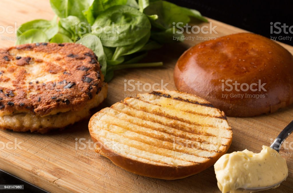 meat burger stock photo
