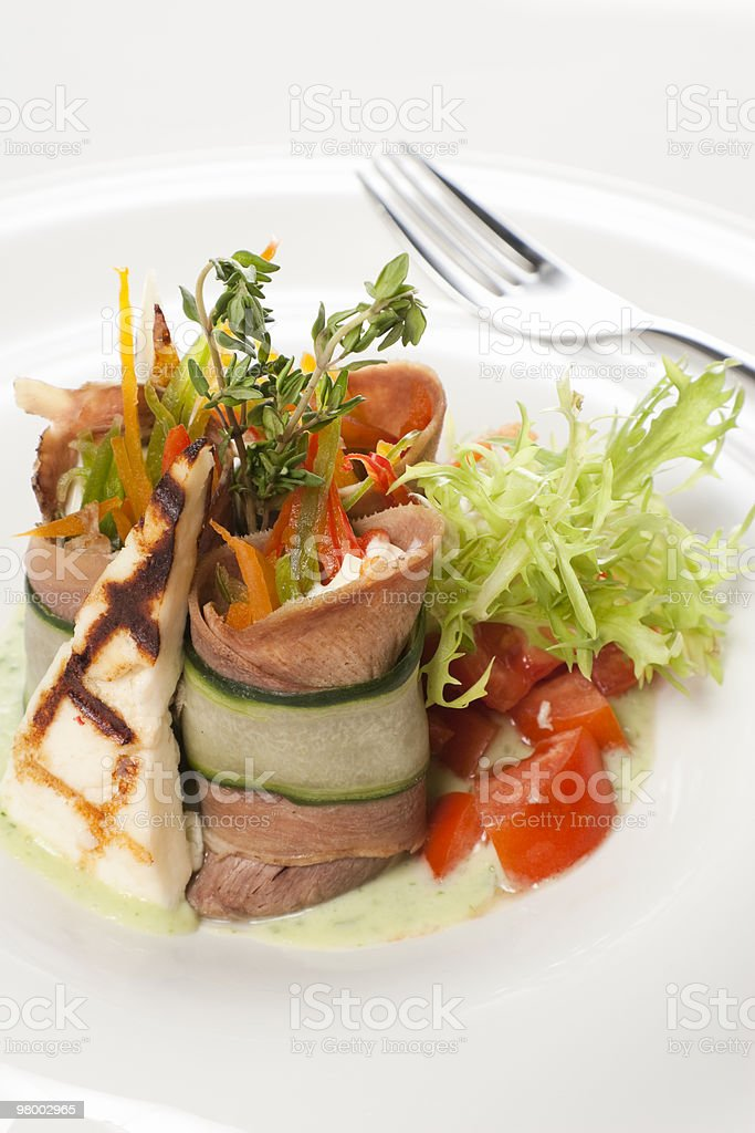 meat, cheese and vegetables royalty free stockfoto