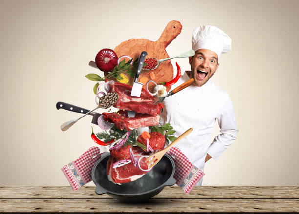 meat cooking - küche italienisch gestalten stock-fotos und bilder