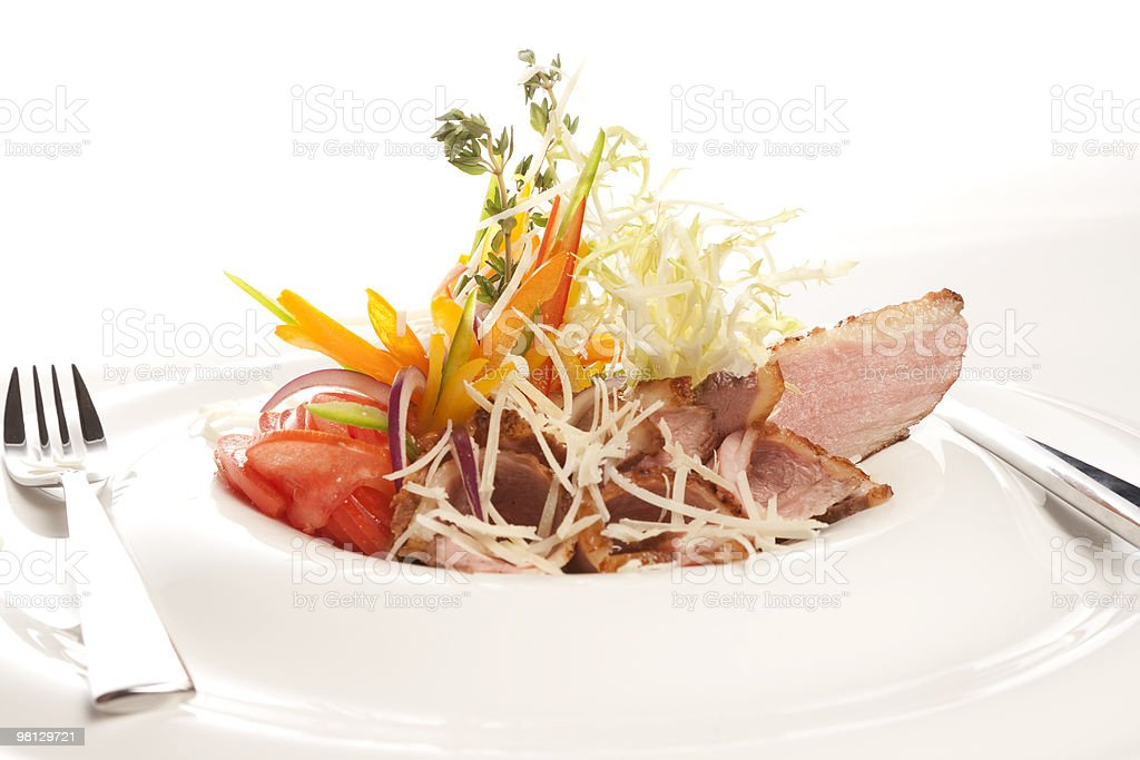 meat course and  salad royalty-free stock photo