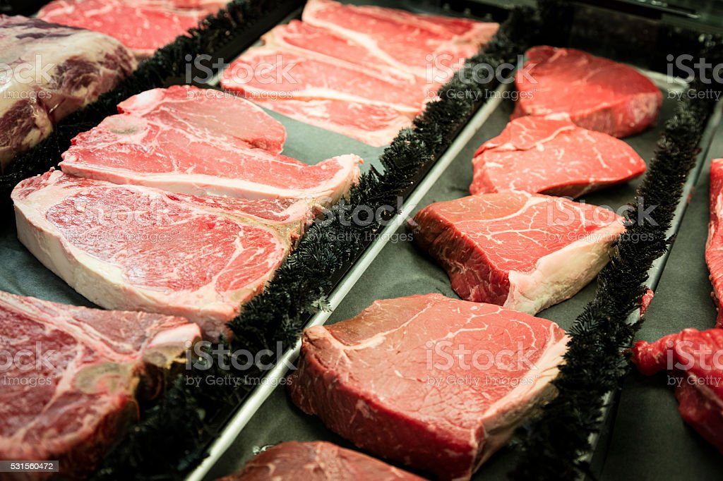 Meat Department of Grocery Store stock photo