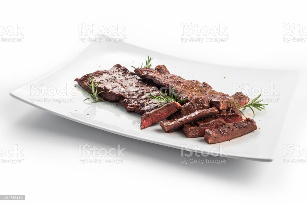 Square White Plate Of Sliced Skirt Steak And Rosemary Stock Images Page Everypixel