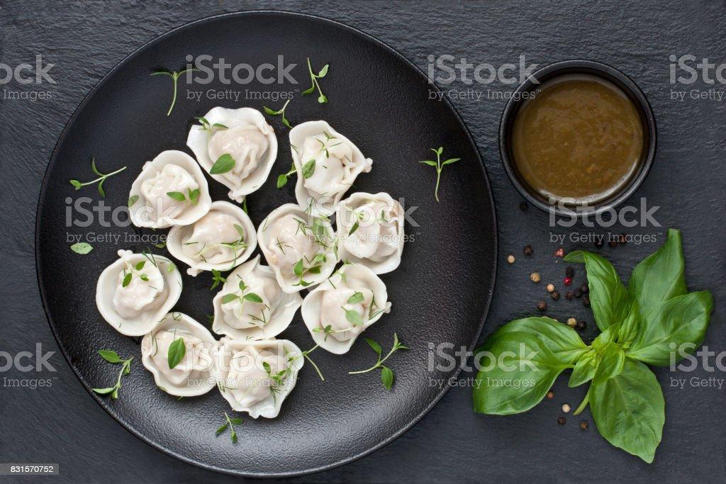 Meat dumplings, Asian style serving stock photo
