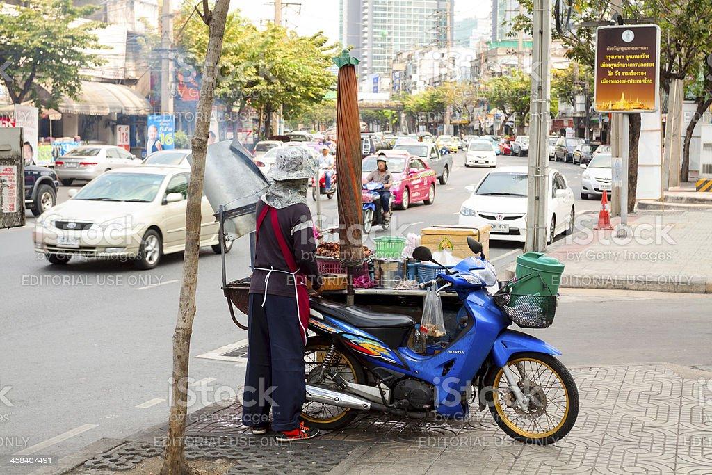 Meat food seller in Bangkok royalty-free stock photo
