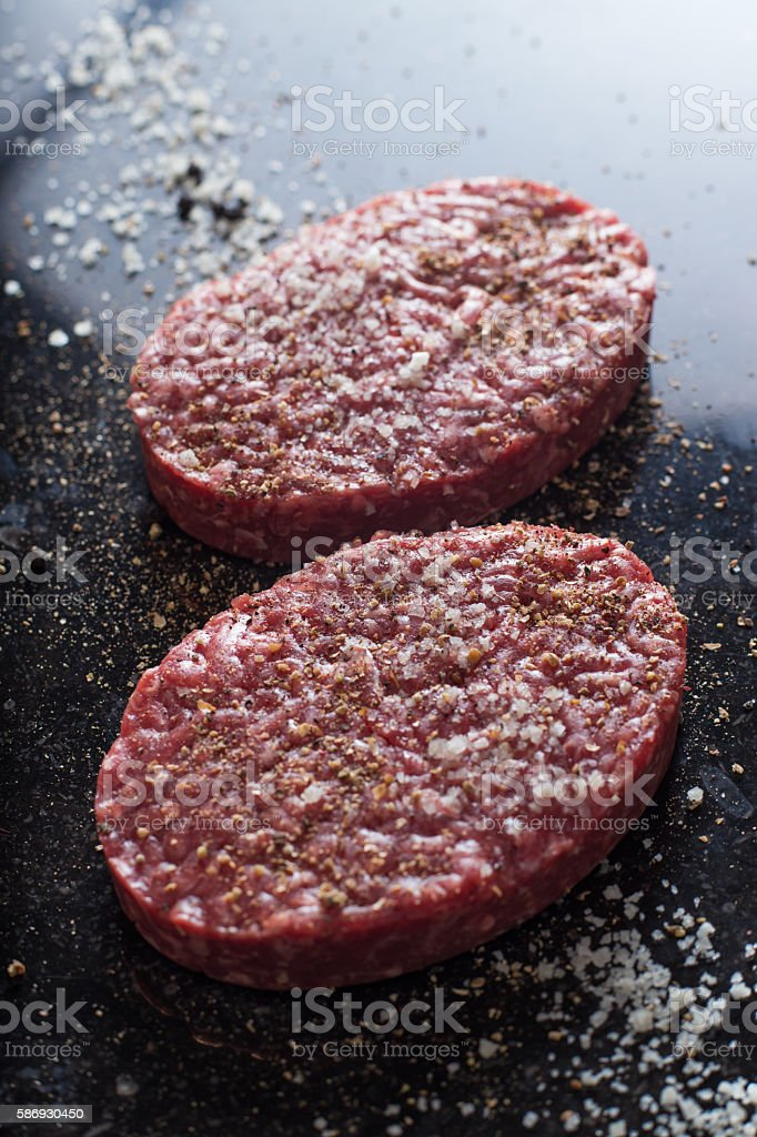 Meat for burgers, grilling, barbecue, bbq. Fresh, spicy, uncooked beef stock photo